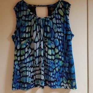 Multi colored geometric design sleeveless  blouse